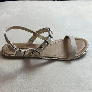 Call It Spring Beige Bedazzled Sandals - Size 7.5
